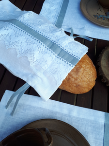 Ľanové vrecko na chlieb Cottage Dream