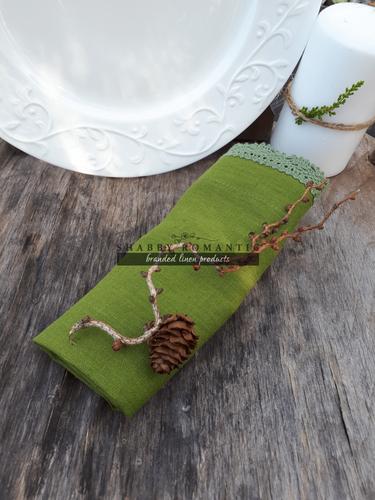 Ľanový obrúsok zelený